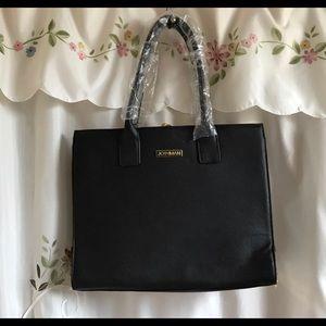 🌸NWOT🌸Joy Mangano Leather Handbag Tote BLACK
